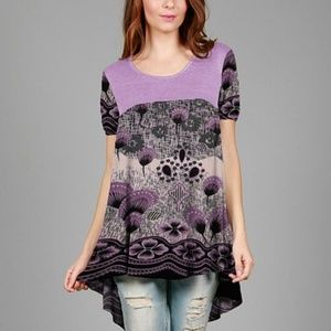 Simply Aster Lavender & Black Dandelion Tunic -NWT